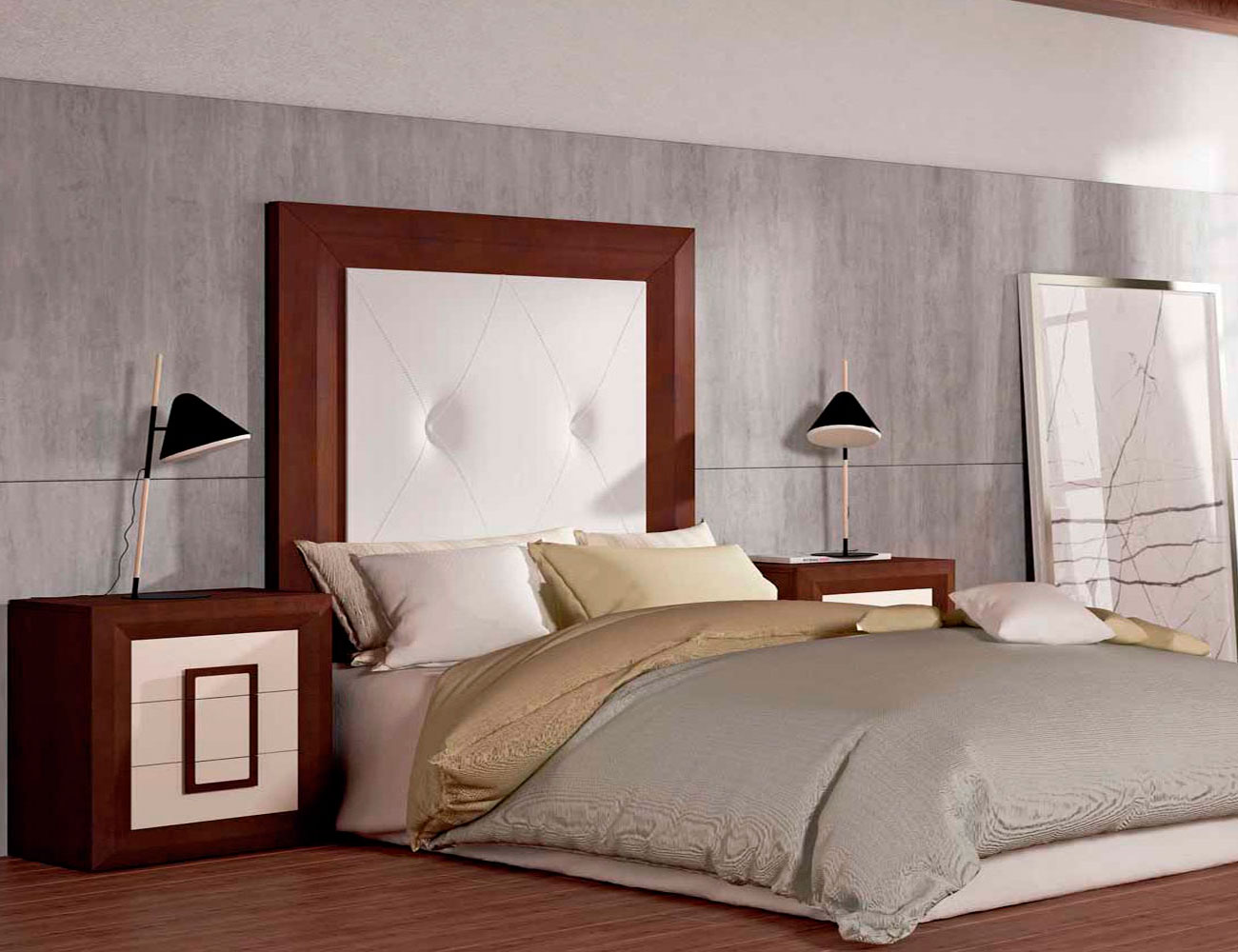 Dormitorio de matrimonio con cabecero tapizado en color - Dormitorios con cabeceros tapizados ...