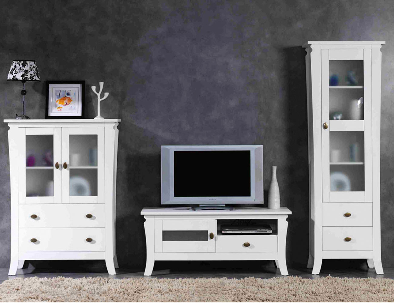 Muebles salon comedor blanco madera dm3