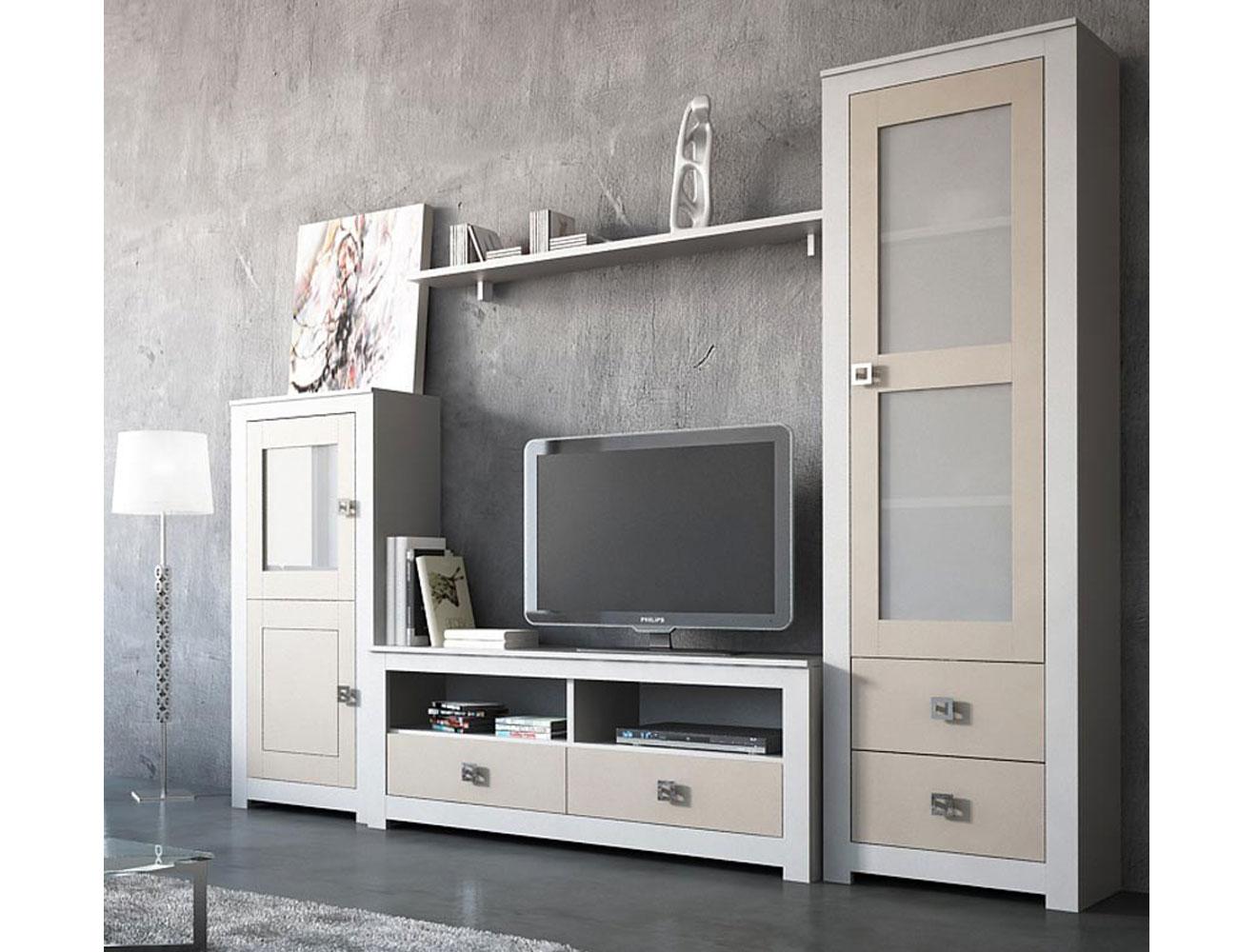 Muebles salon comedor lacado blanco piedra bodeguero 2 puertas