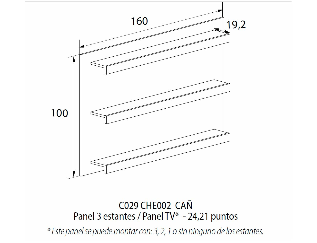 Panel 3 estantes