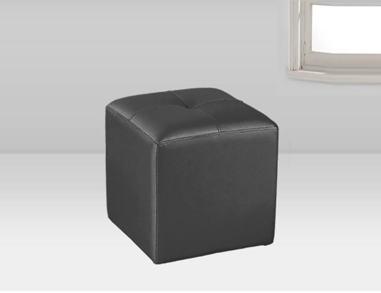 Puf tapizado polipiel negro 35