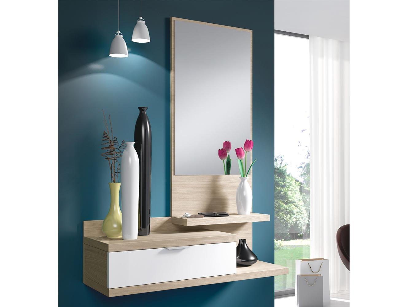 Recibidor De Colgar Con Espejo Y Un Caj N En Color Roble Natural  # Muebles Efecto Espejo