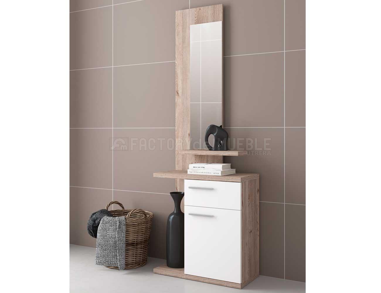 Recibidor con espejo integrado en nelson con blanco 22469 for Tu factory del mueble