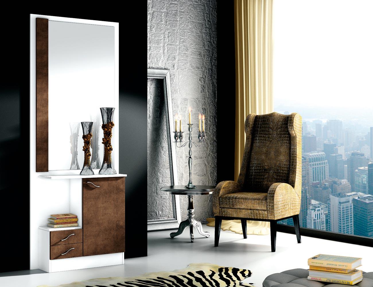 Recibidor con mural espejo 2 cajones blanco wengue 150