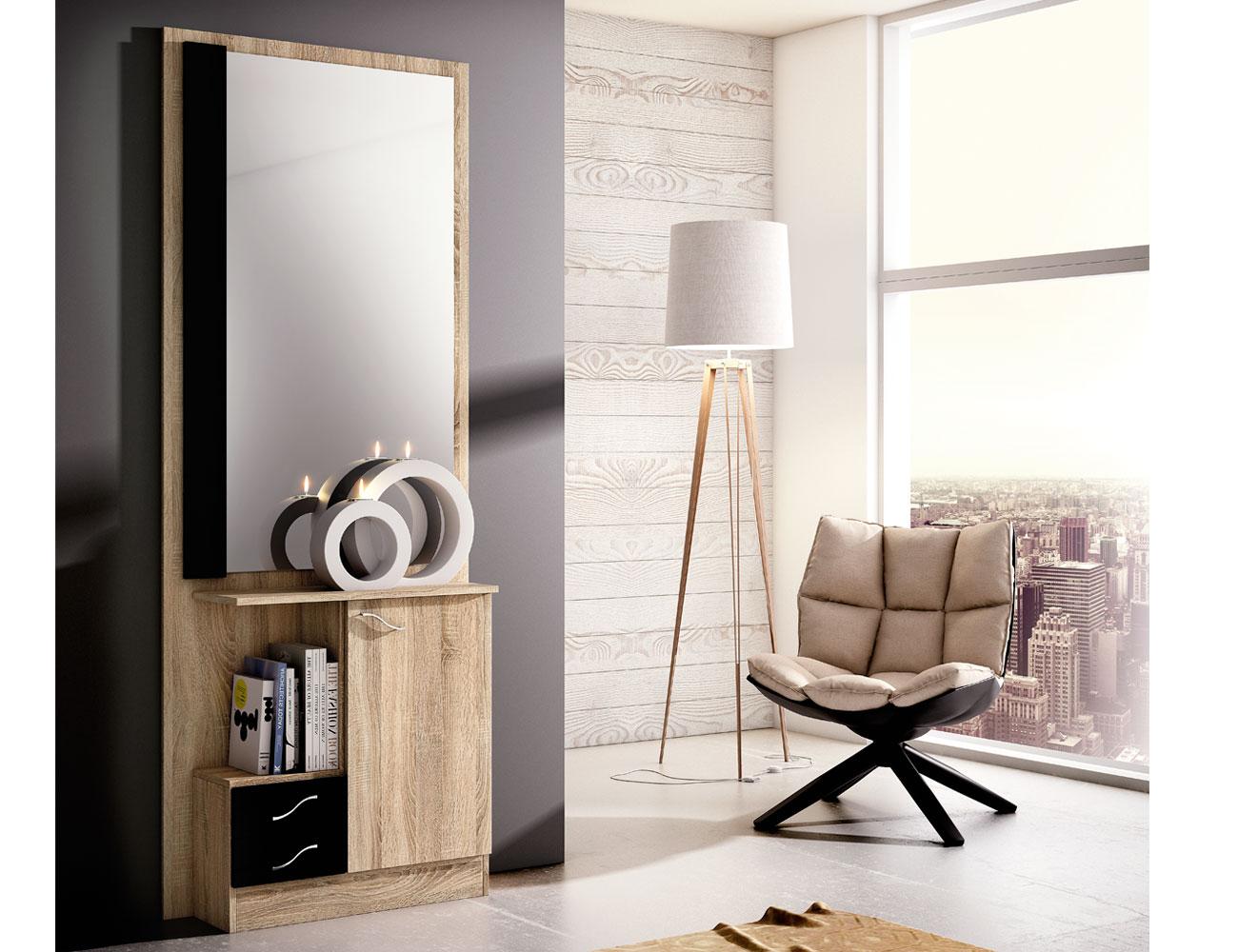 Recibidor con mural espejo 2 cajones cambrian negro 150