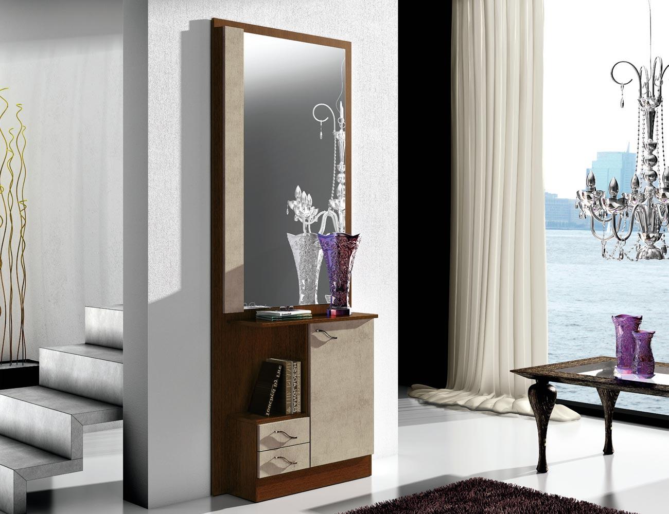 Recibidor con mural espejo 2 cajones wengue plata 1501
