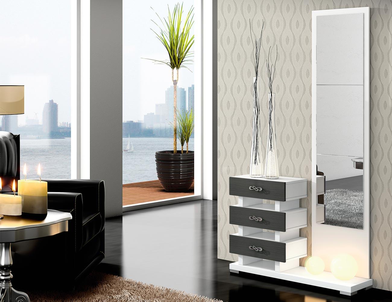 Recibidor con mural espejo y 3 cajones verticales en for Espejo recibidor blanco