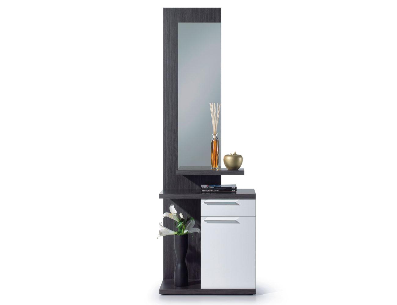 Recibidor estilo moderno con espejo en gris ceniza con - Mueble recibidor blanco ...