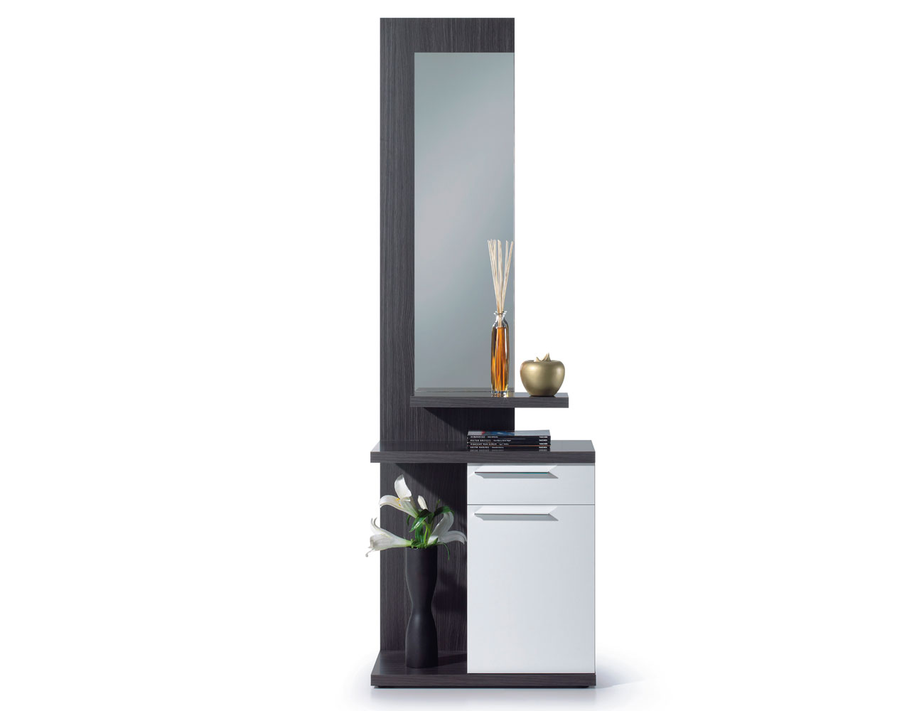 Recibidor estilo moderno con espejo en gris ceniza con - Mueble recibidor moderno ...