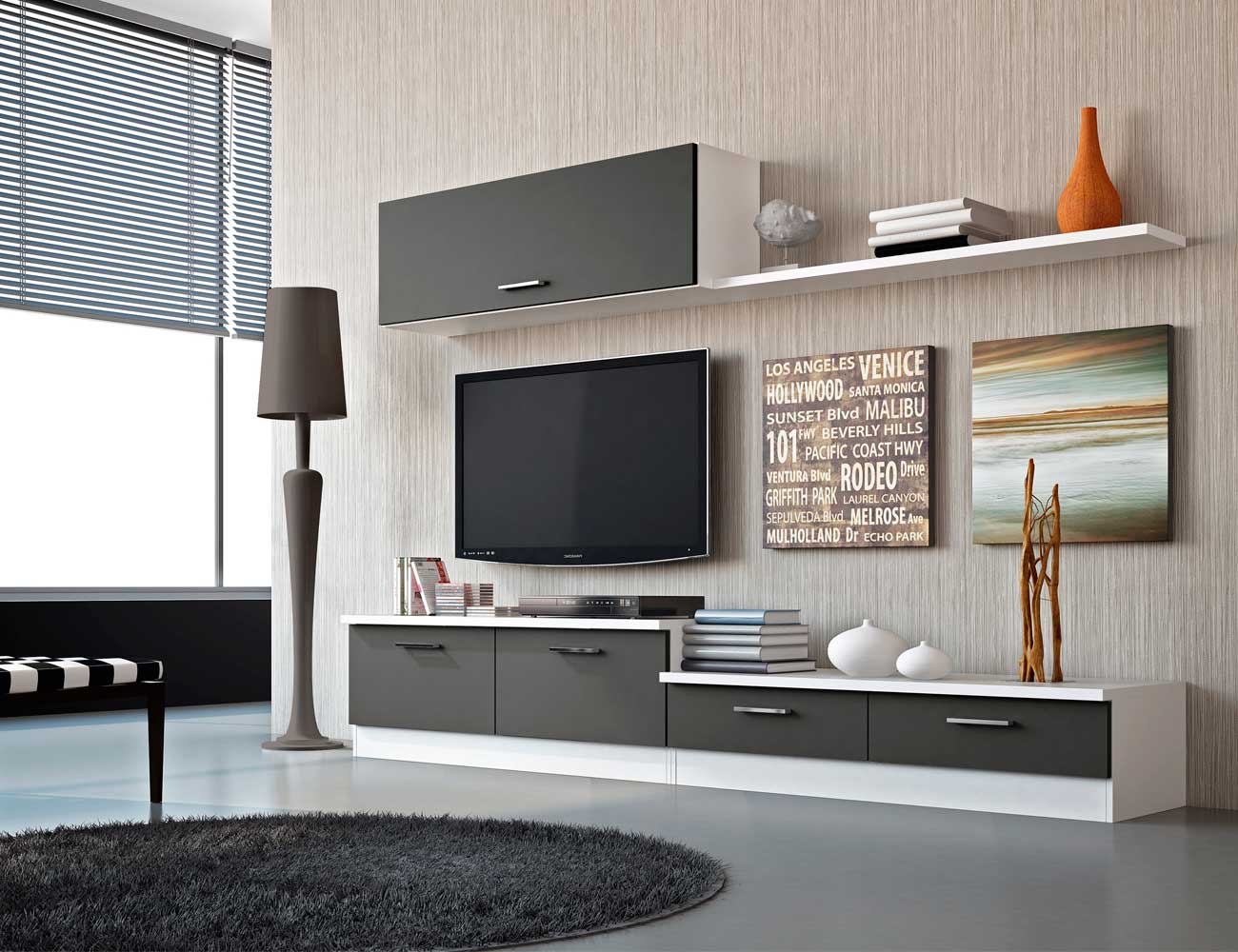 Mueble de sal n estilo moderno color blanco grafito - Mueble salon moderno blanco ...