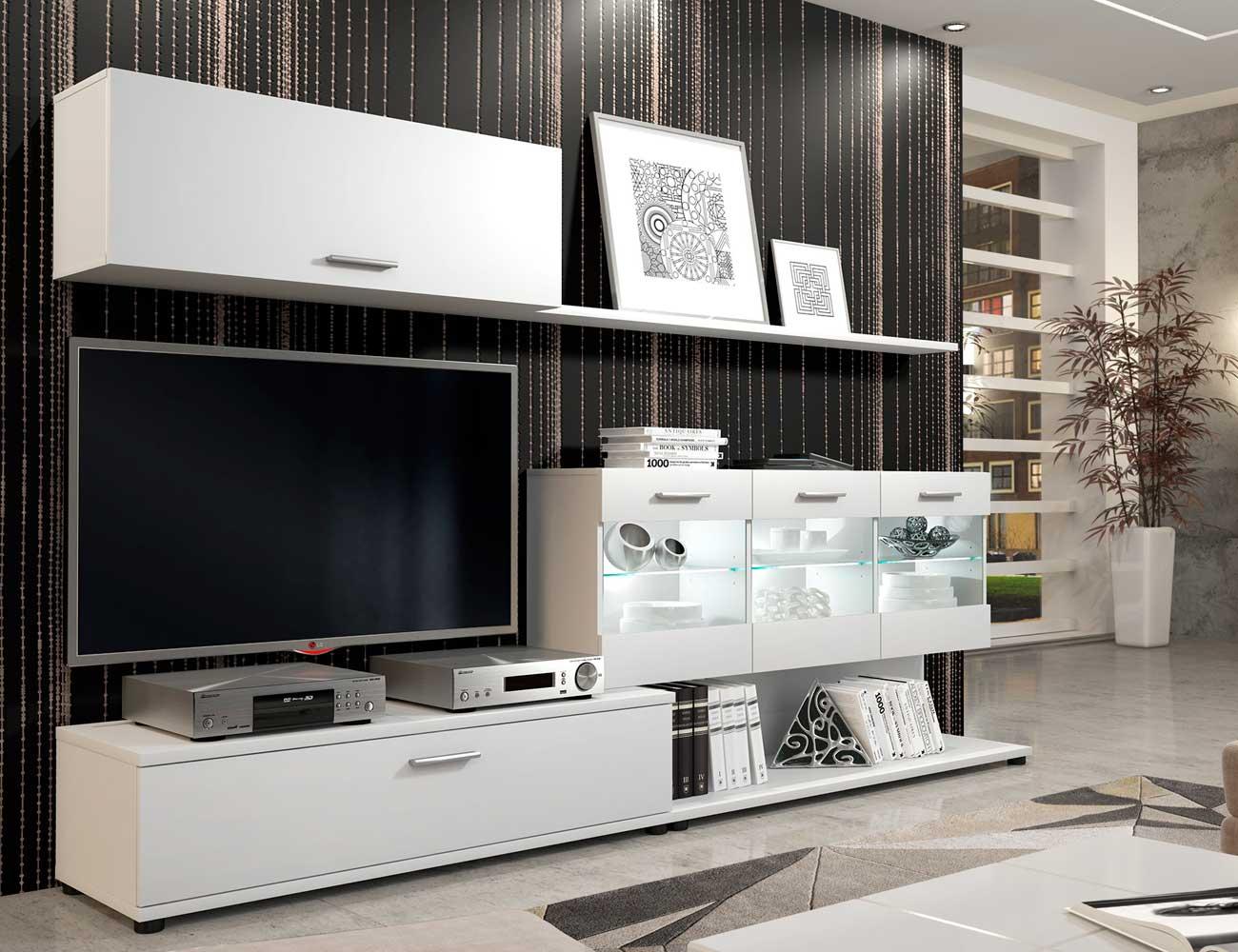 Mueble de sal n estilo moderno con luces leds y blanco - Salon moderno blanco ...