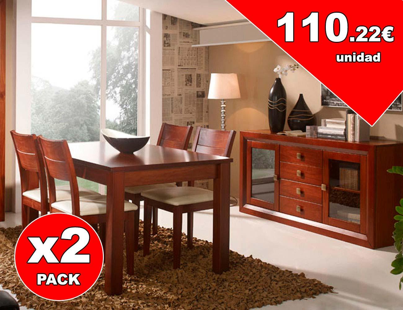 Pack de sillas comedor color nogal en madera (7114) | Factory del ...