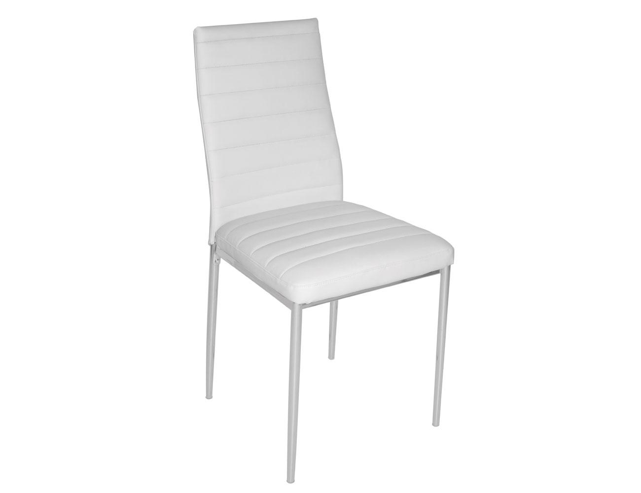 Silla de comedor tapizada en polipiel blanco con patas plata factory del mueble utrera - Sillas comedor polipiel ...