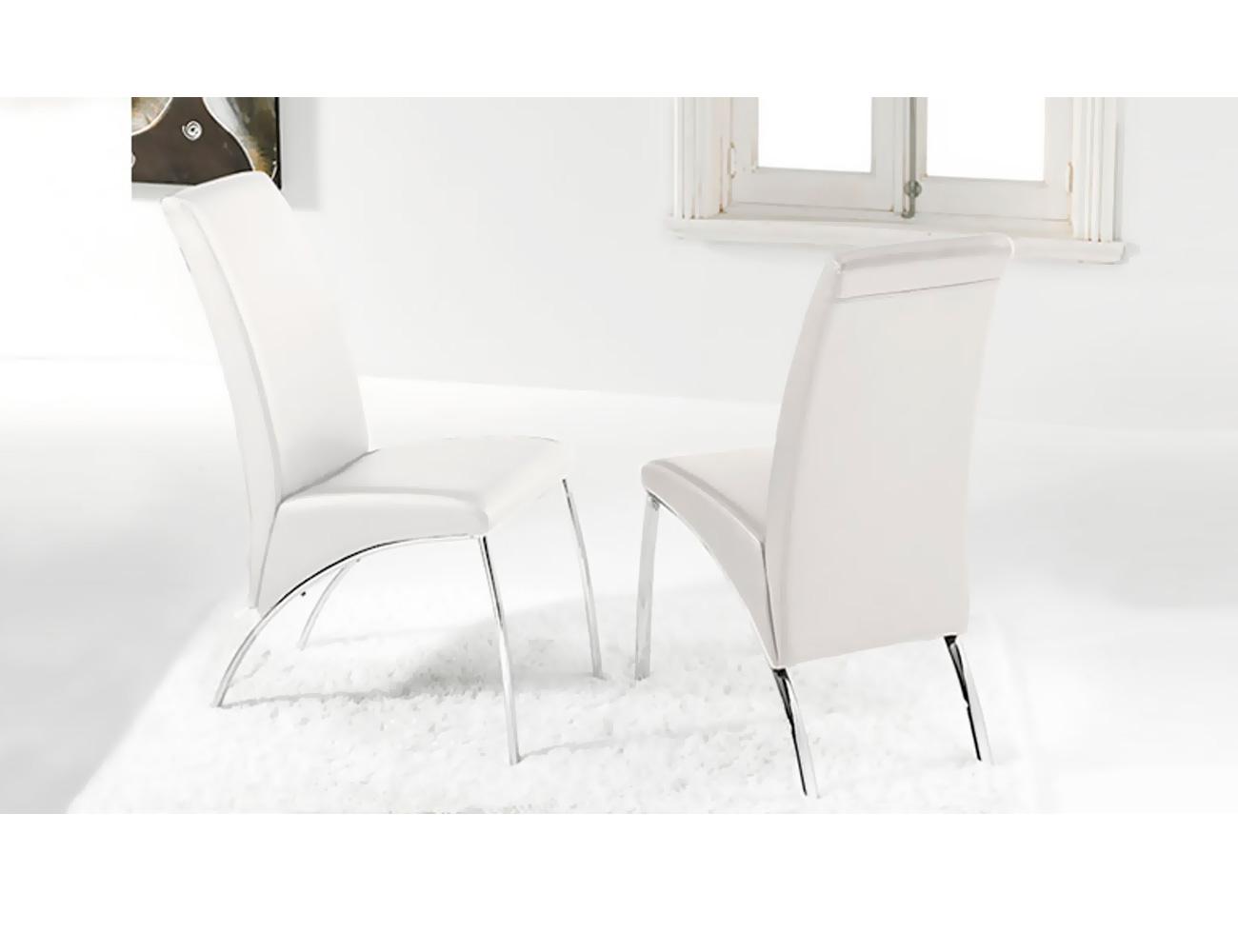 Silla comedor tapizada en polipiel blanco con patas cromadas factory del mueble utrera - Sillas comedor polipiel ...
