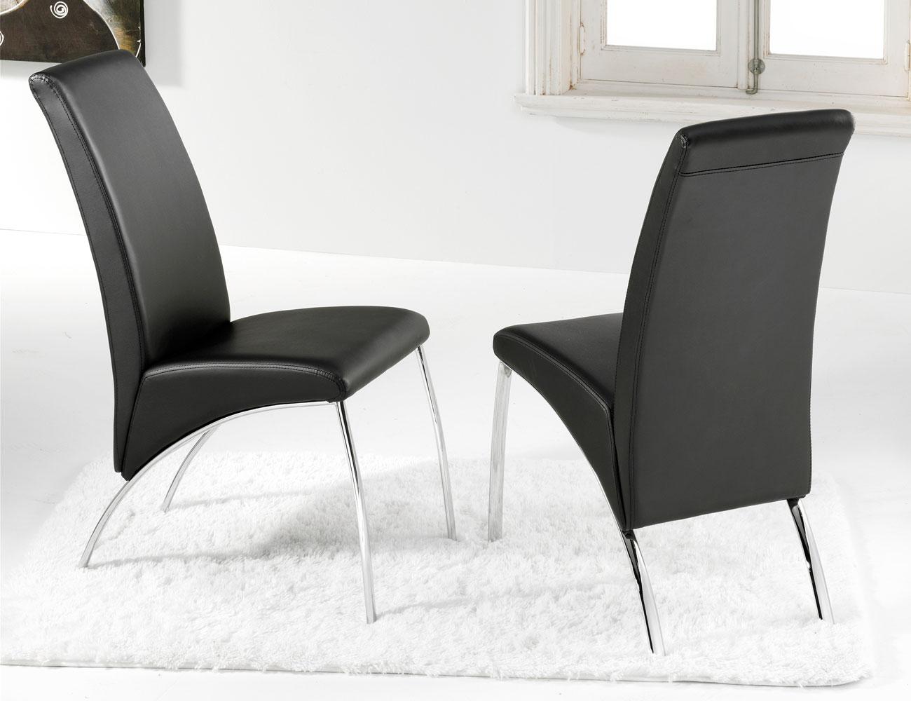 Silla comedor polipiel negro patas cromadas