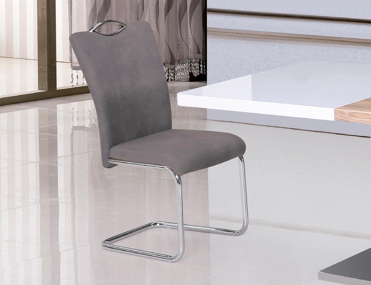 Juego de 4 sillas con respaldo y asiento tapizado en gris for Sillas grises para comedor