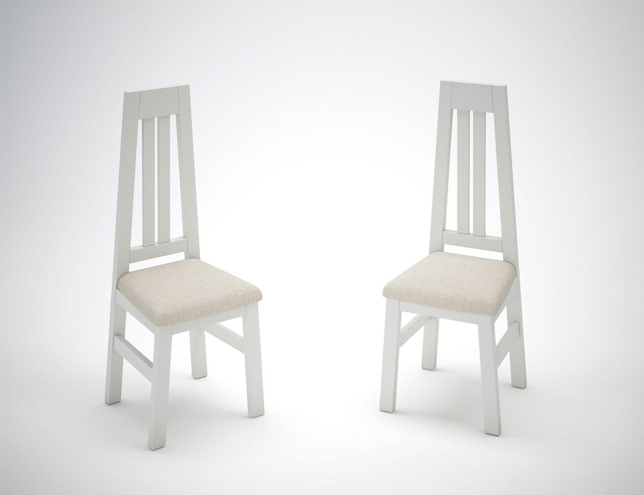 Juego 2 sillas blanco tapizadas en color blanco 11229 for Silla madera blanca