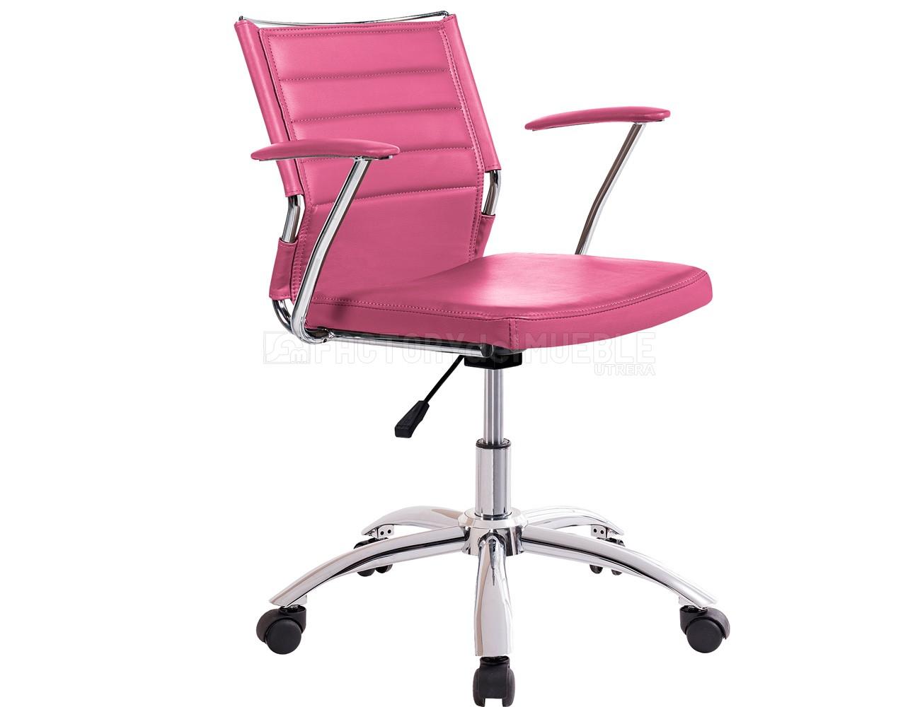 Silla oficina despacho regulable altura apoya brazos polipiel rosa ruedas