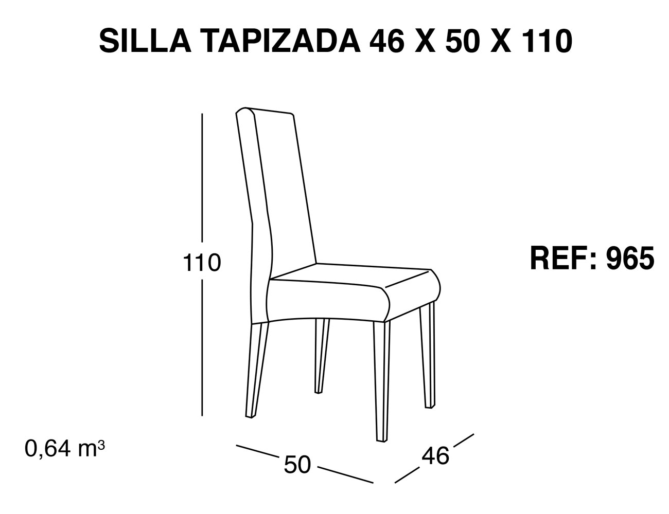Silla tapizada 46 50 10