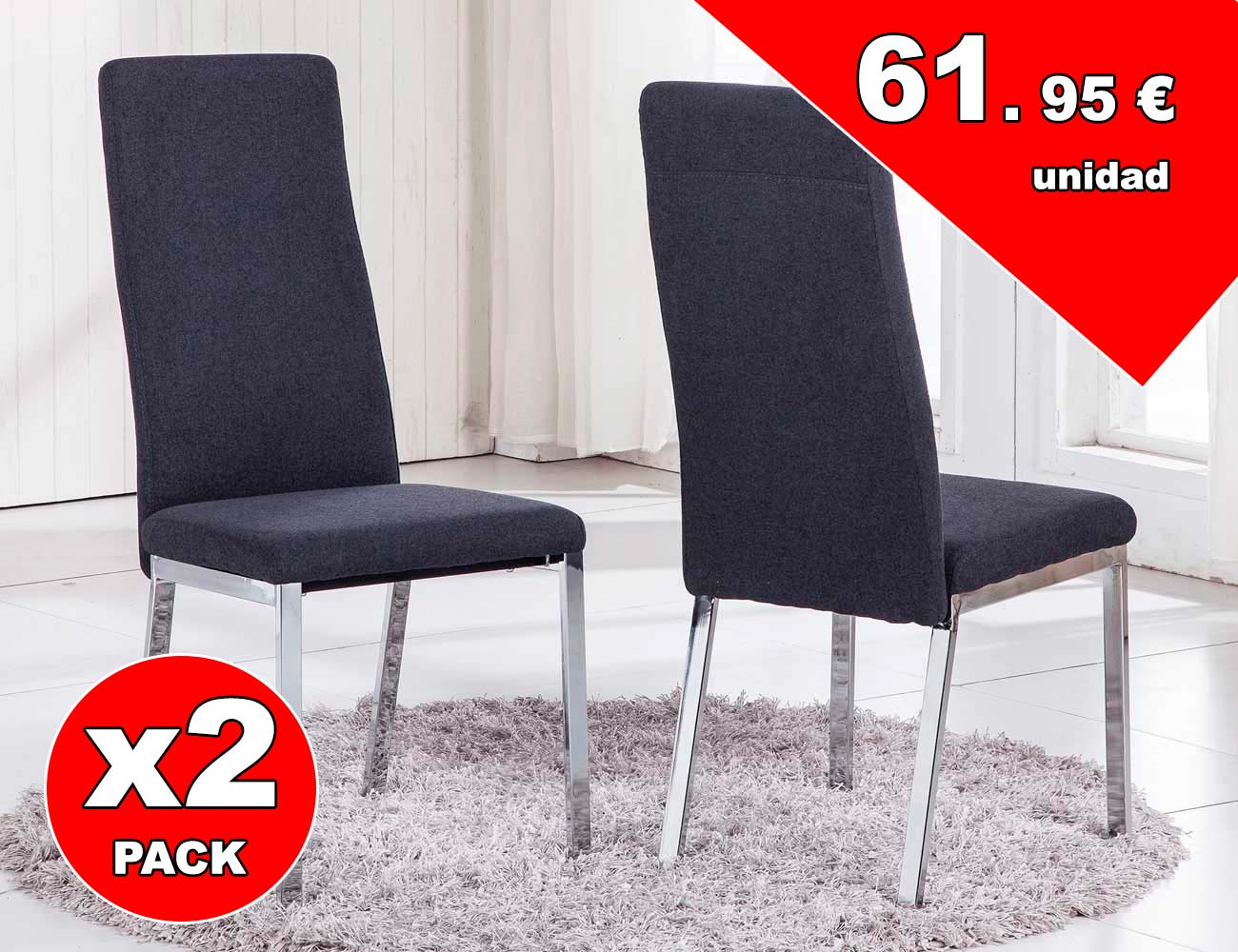 Pack de sillas tapizadas en tejido elegance con patas for Sillas comedor cromadas