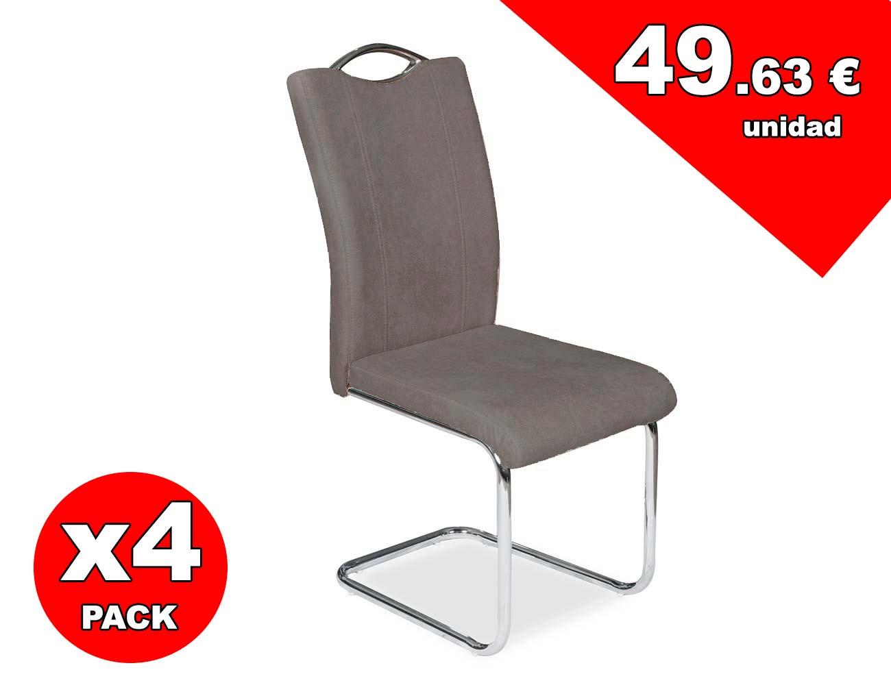 Juego de 4 sillas con respaldo y asiento tapizado en gris for Sillas cromadas precios