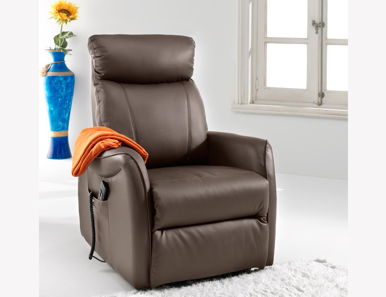 Sillon relax dos motores power lift levanta personas simil piel 3