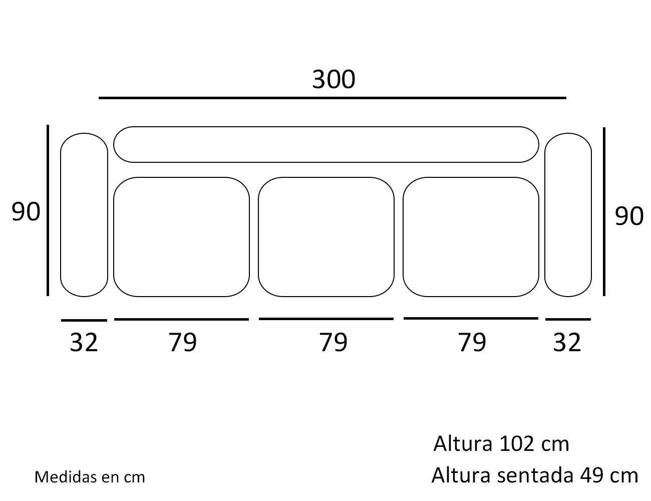 Sofa 3 asientos maxi 300