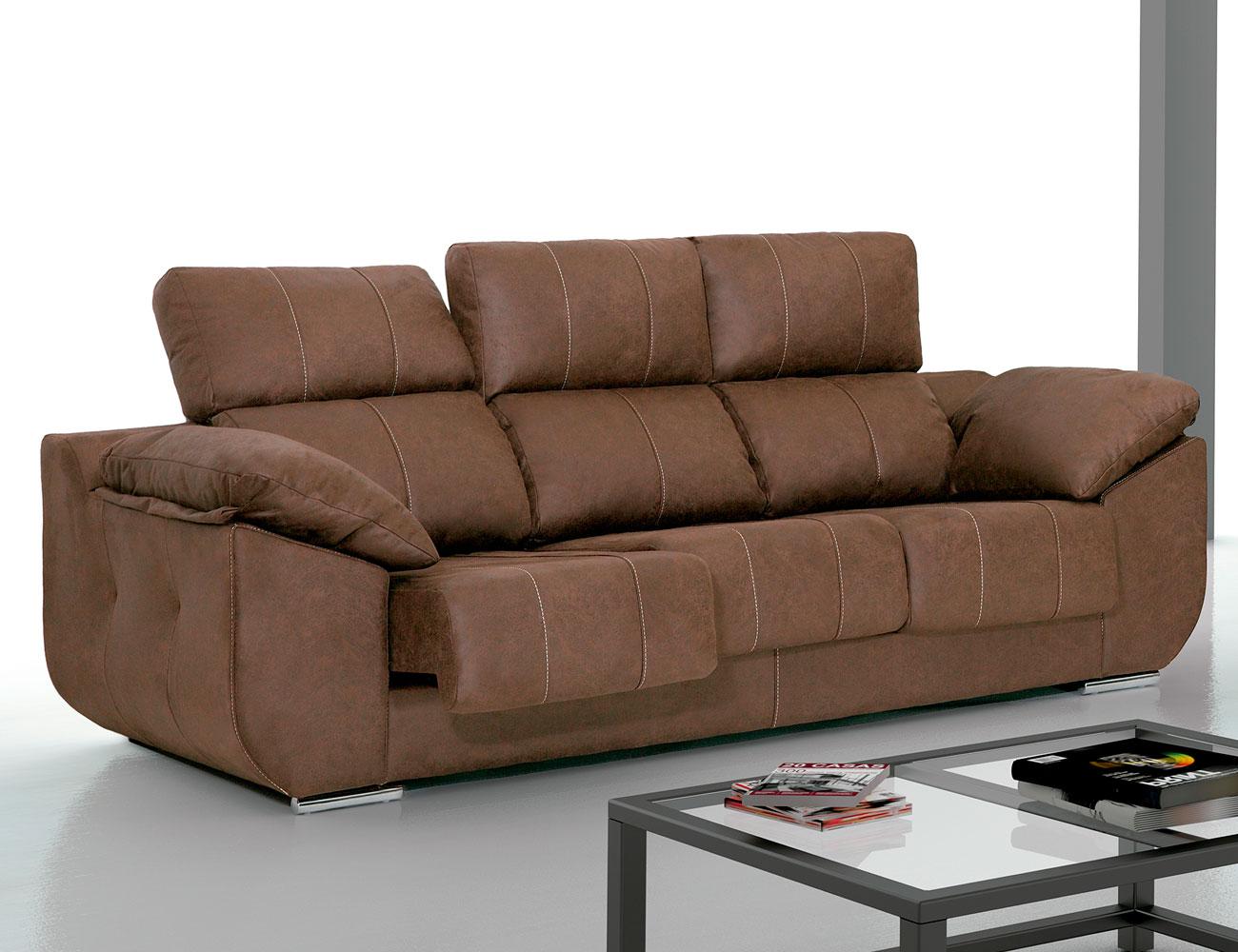 Sof con asientos extra bles y respaldos reclinables en for Sofas 4 plazas reclinables