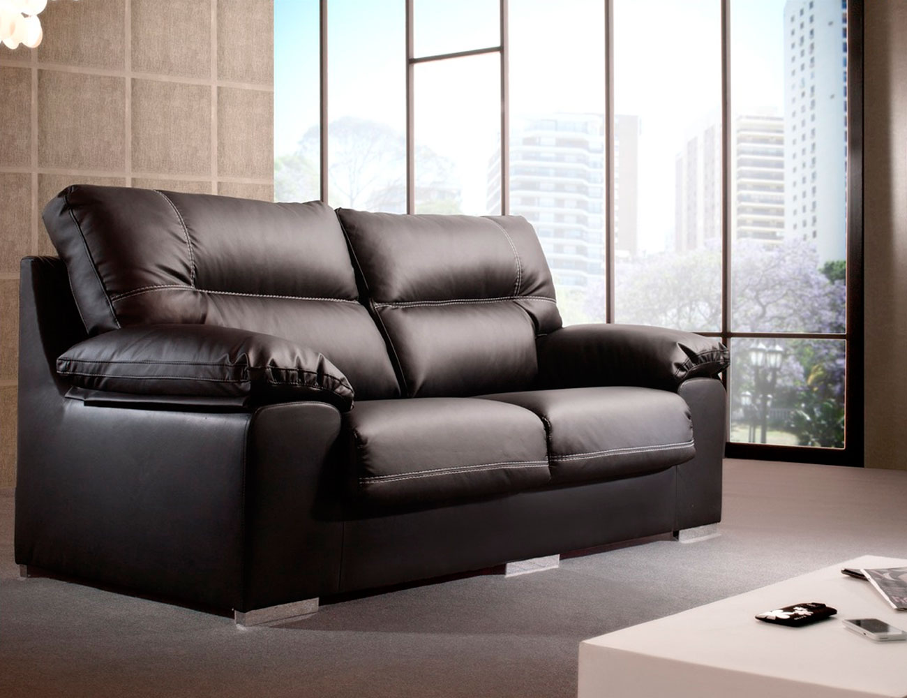 Sofa 3 plazas polipiel negro