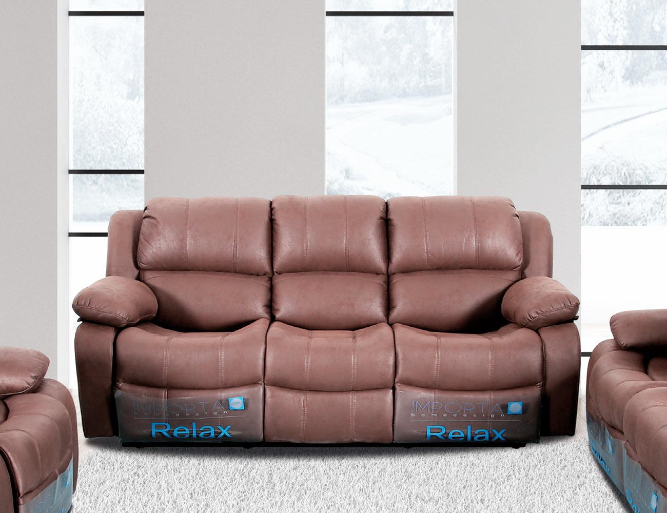 Sofa 3 plazas relax marron