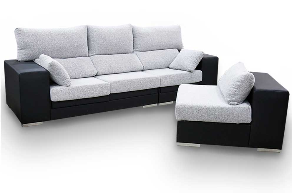 Sofa 5 plazas reversible 4 taburetes