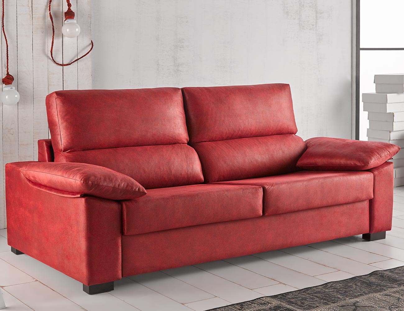 Sofa cama apertura italiano gran calidad leire rojo28