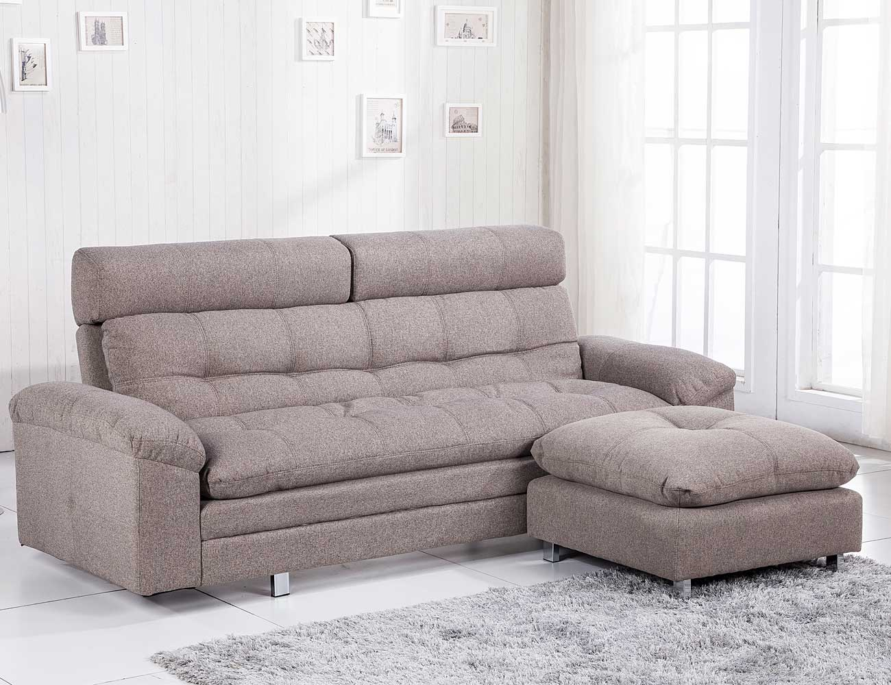Sof cama con chaiselongue puf reversible y apoya cabeza for Sofa cama opiniones