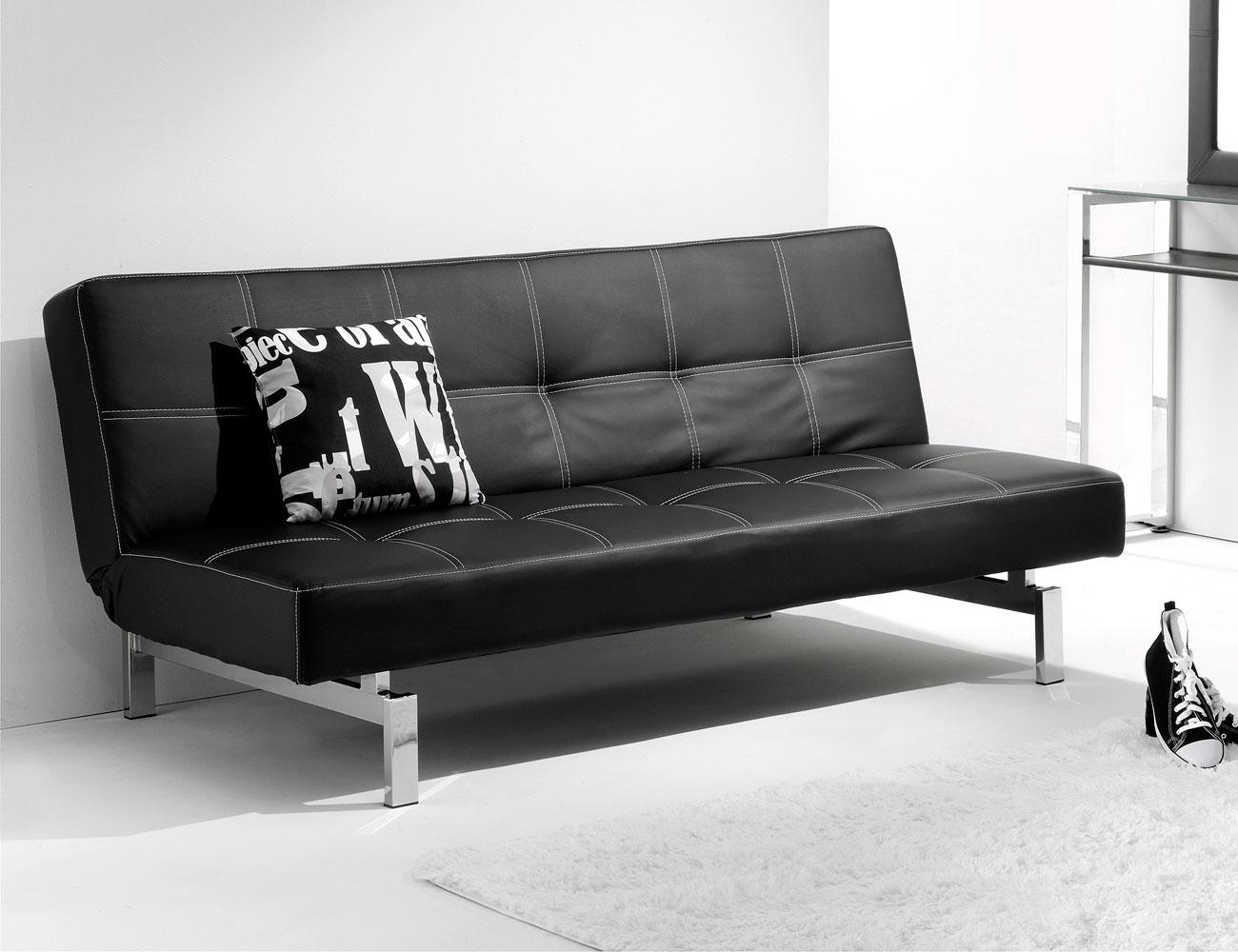 Sofá cama click clack en síml piel negro con patas cromadas (2296 ...