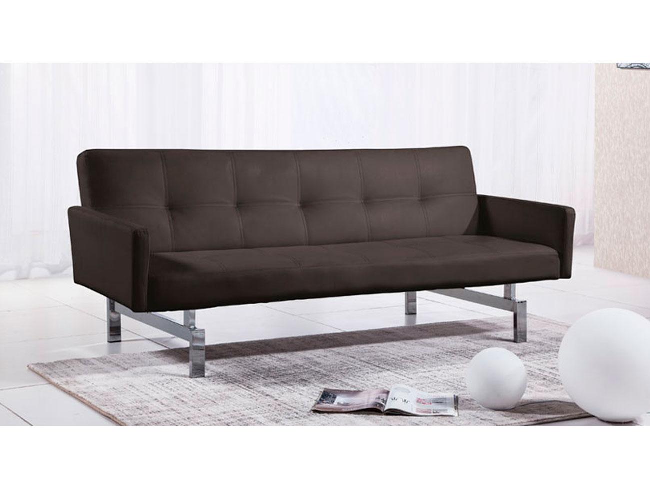 Sofa cama con brazos simil piel chocolate