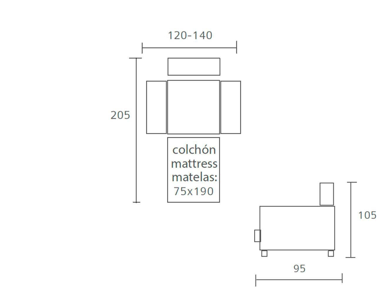 Sofa cama pedro ortiz 120 140