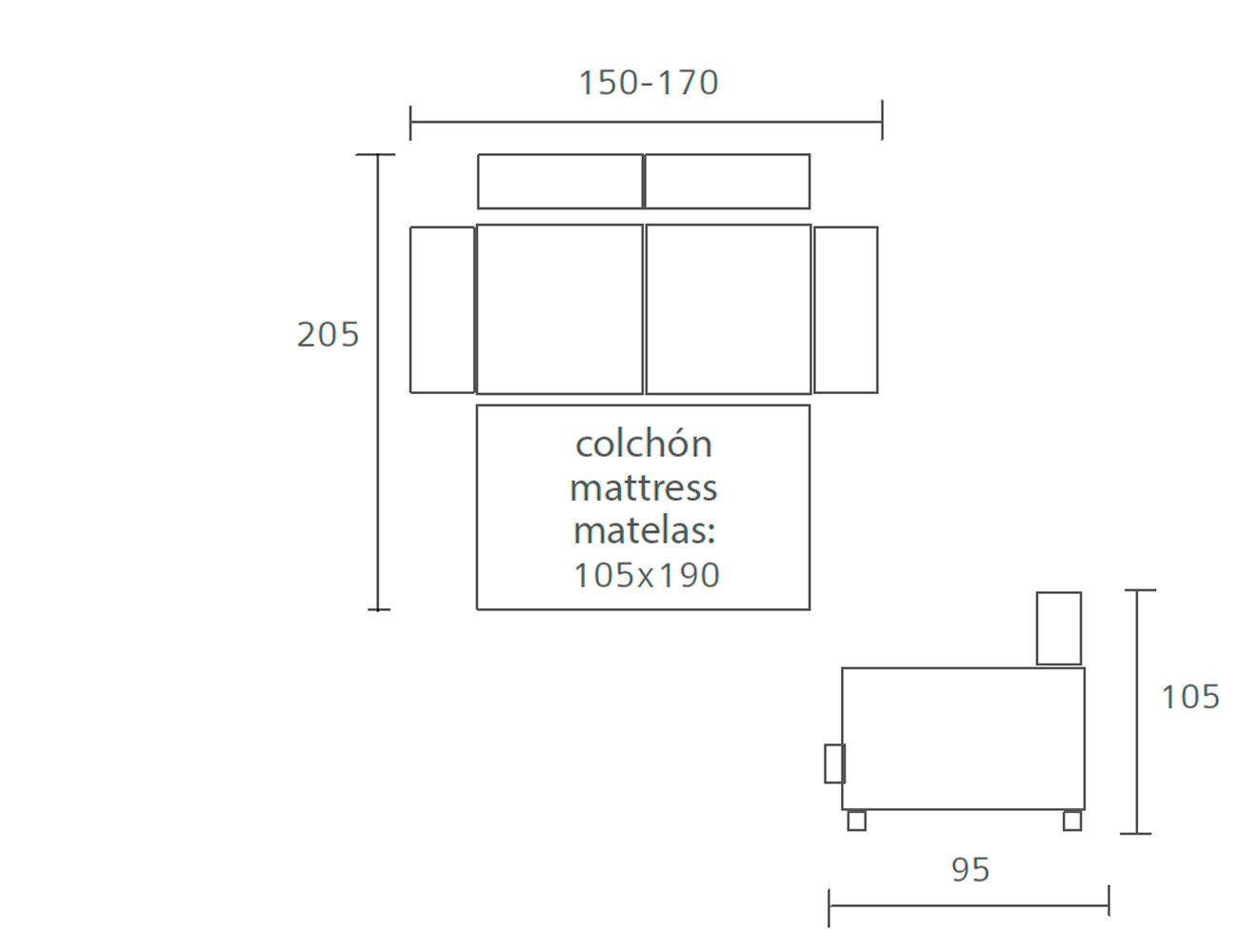 Sofa cama pedro ortiz 150 170