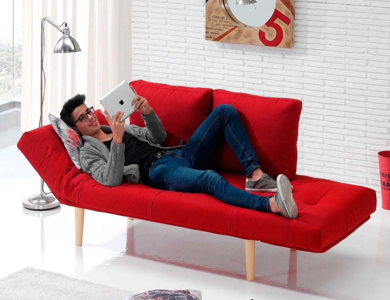 Sofa cama rojo 2