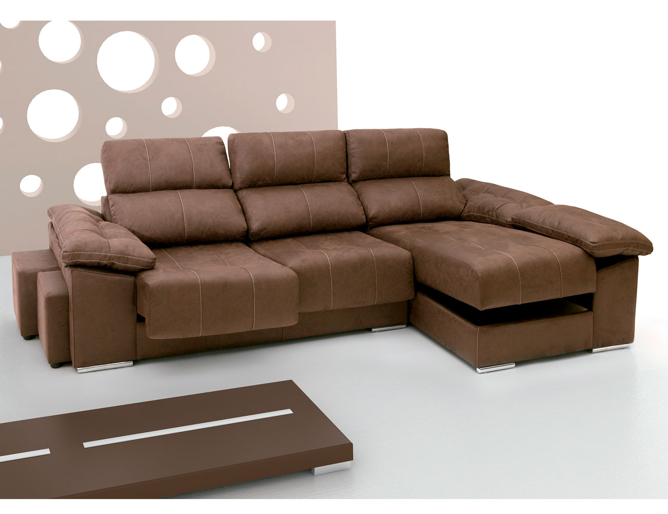 Sof con asientos extra bles y respaldos reclinables 215 for Medidas sofa chaise longue