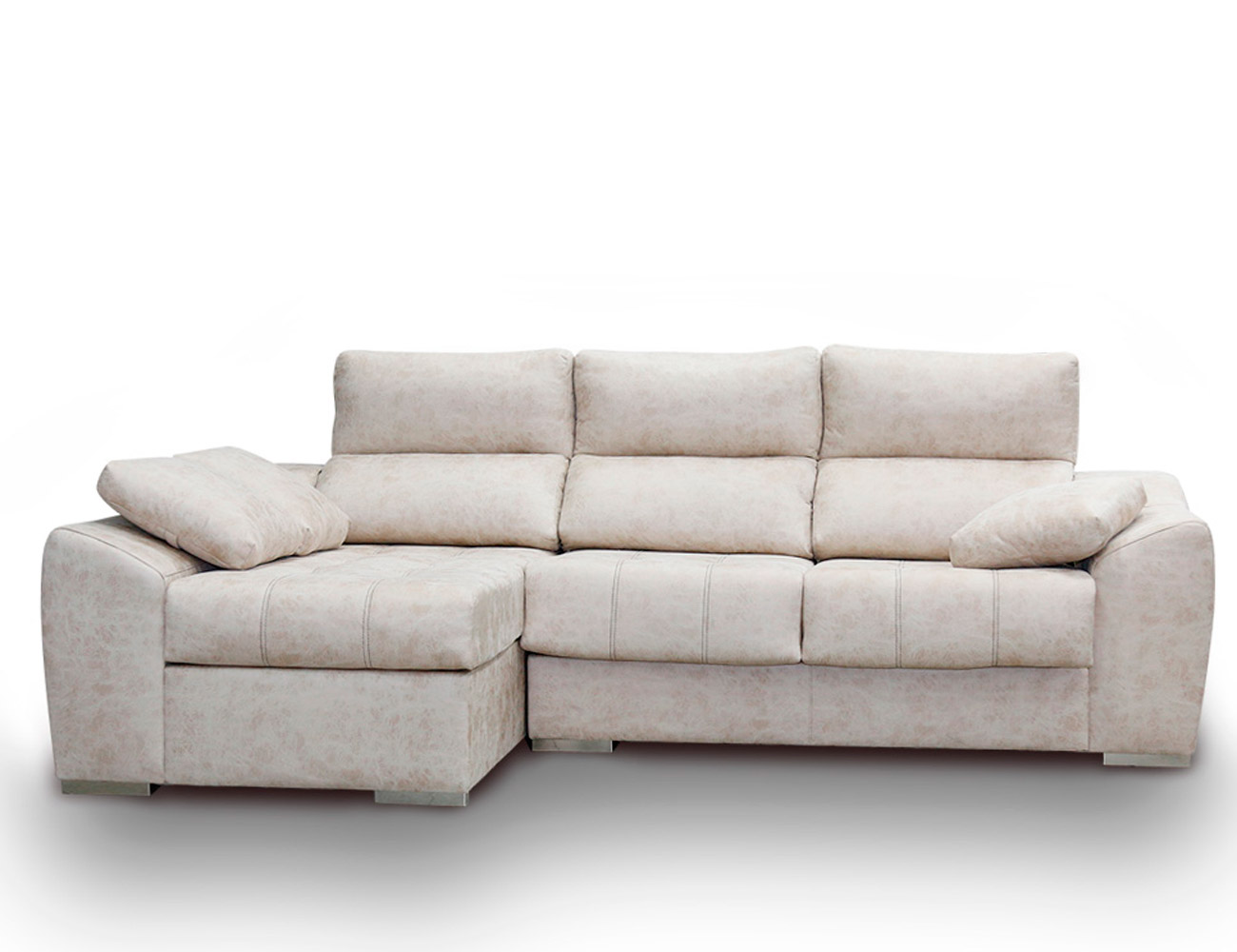 Sofa chaiselongue anti manchas beig blanco
