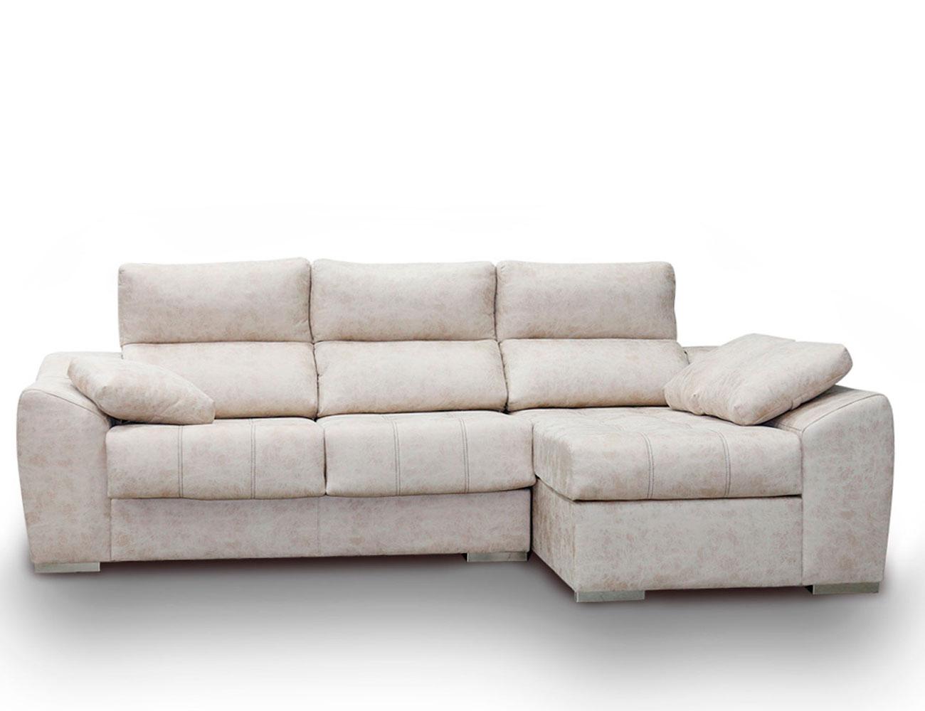Sofa chaiselongue anti manchas beig blanco261