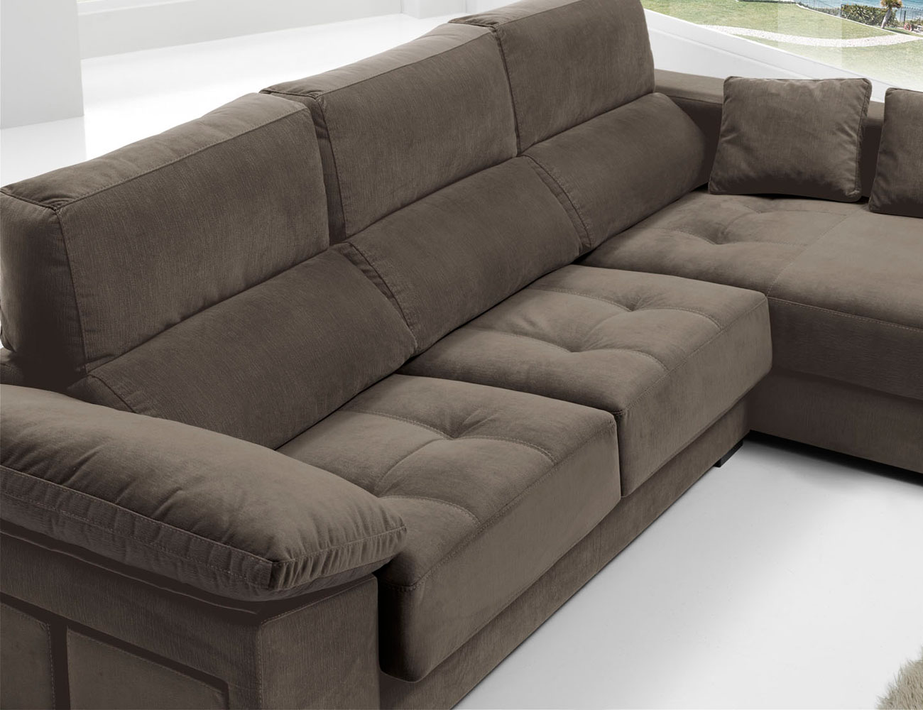 Sofa chaiselongue anti manchas bering pouf 221