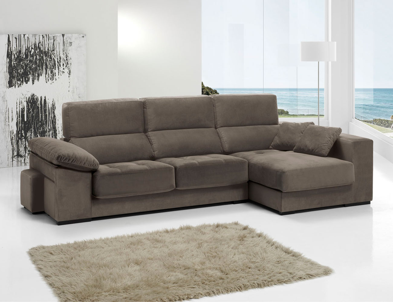 Sofa chaiselongue anti manchas bering pouf