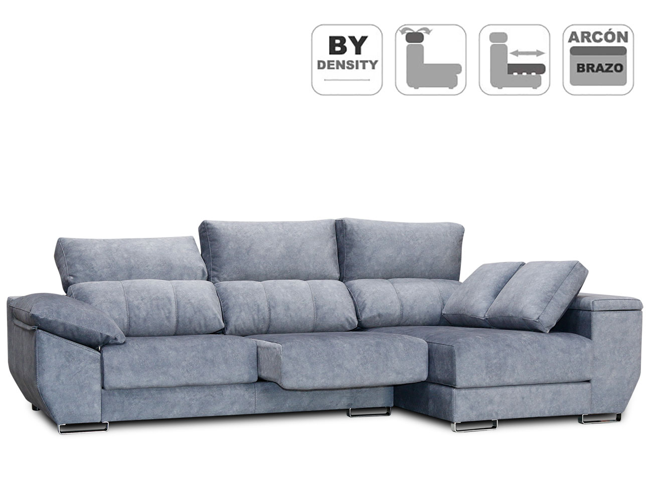 Sofa chaiselongue anti manchas gama alta detalle