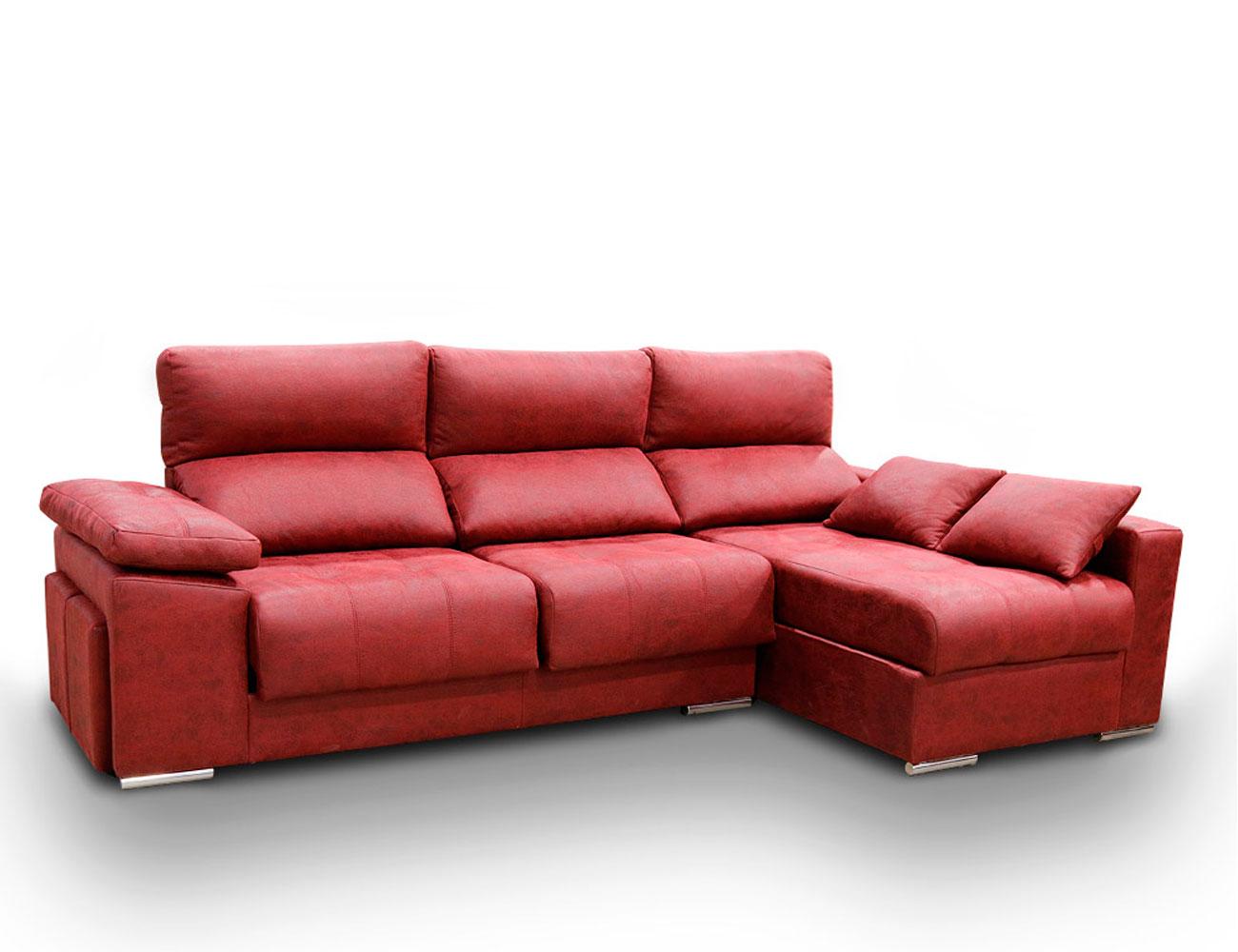 Sofa chaiselongue anti manchas rojo granate3