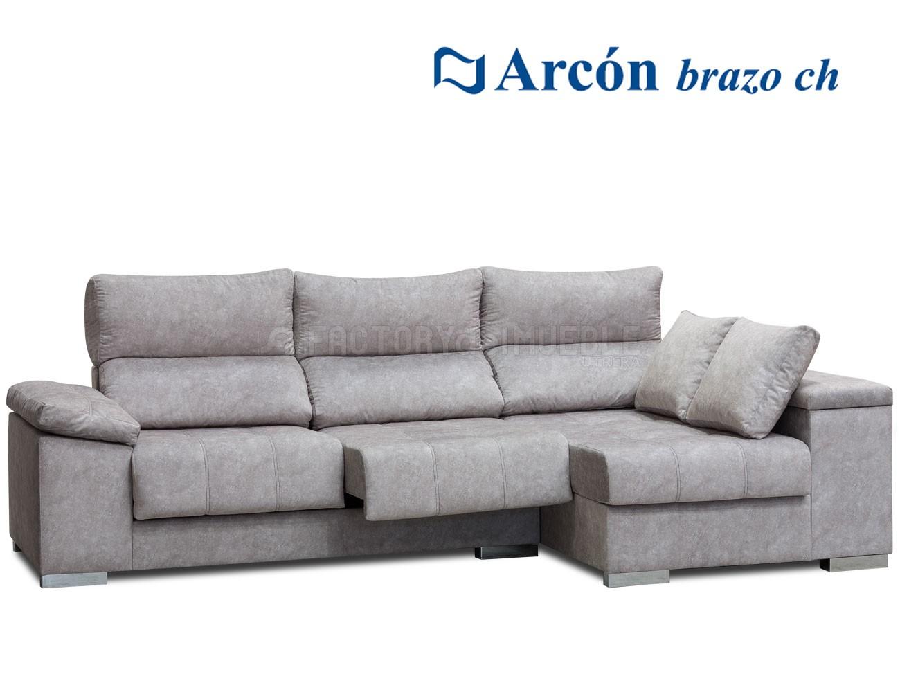 Sofá chaiselongue con arcón en brazo, 2 taburetes grandes en tejido ...