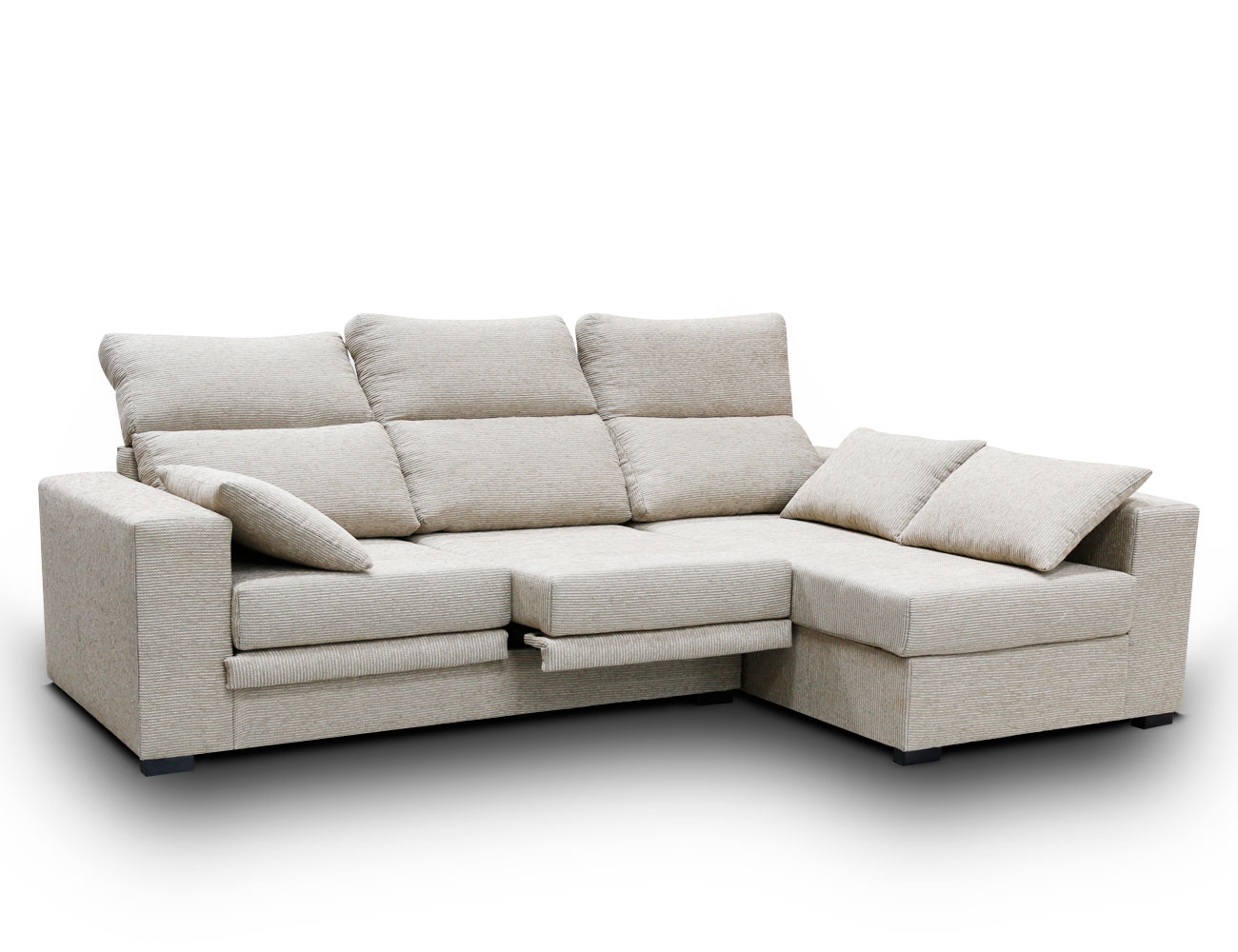 Sof chaiselongue con asientos extraibles y respaldos for Sofas reclinables economicos