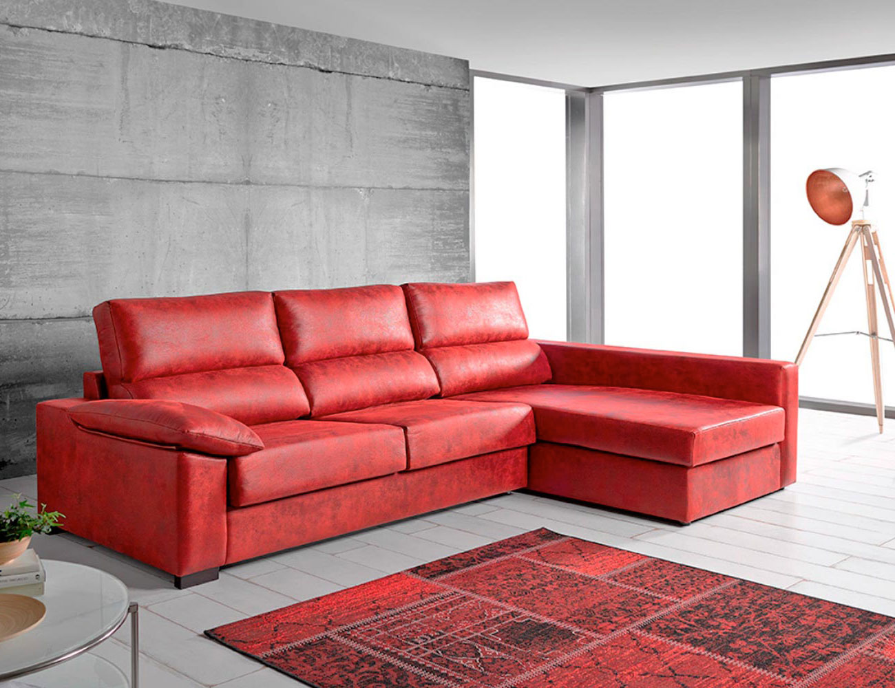Sofa chaiselongue cama italiana leire rojo1