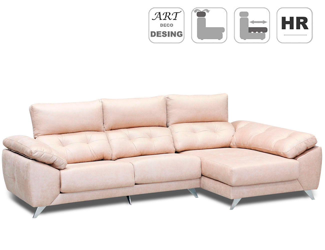 Sofa chaiselongue capitone anti machas gama alta detalle4