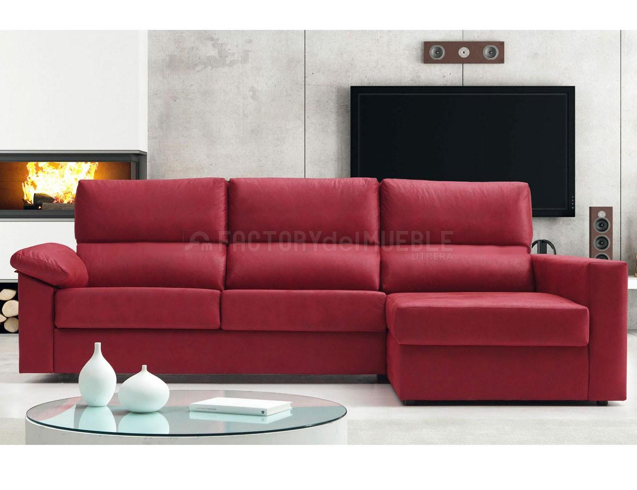 Sof cama con chaiselongue y sistema de apertura italiano for Muebles con sofa cama